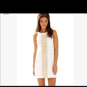Lilly Pulitzer Jacquline white gold dress 00